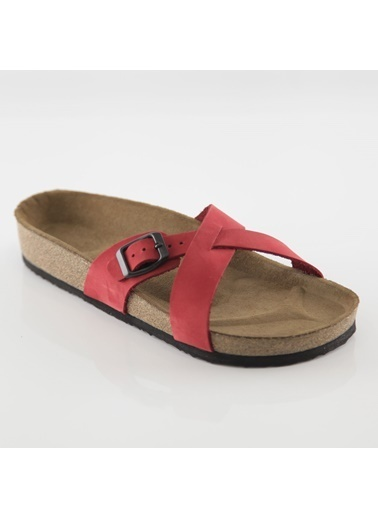 Ballerins Hakiki Deri Sandalet Kırmızı